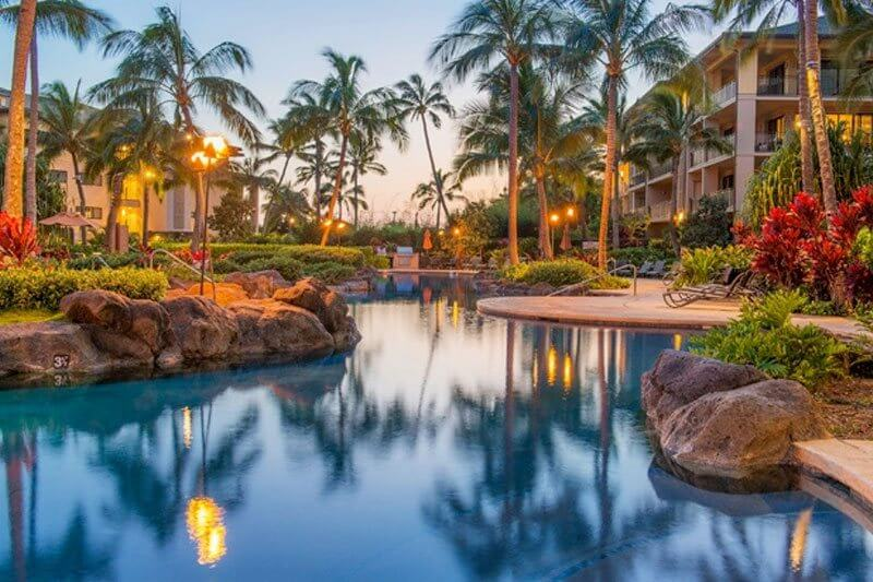 sunset shot of the pool at our Kauai beach resort
